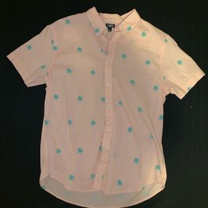 Light Pink Palm Tree Button Up